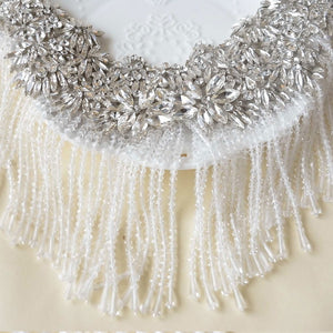 Dangling Silver Rhinestone Applique Crystal Tassel Patch Sparkling Addition for Wedding Party Gown