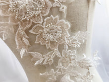 Load image into Gallery viewer, Beaded Flower Patch Light Champagne Embroidery Lace Applique Sew onto Bridal Dress,Wedding Gown