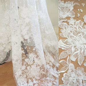Off-White Lace Fabric Sequined Embroidery Flower Wedding Dress Lace by The Yard for Formal Party Lace Dress