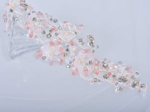Pink Beaded Applique Flower Patch Motif DIY Accessories for Wedding Garters Necklaces