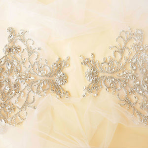 Mirror Pair Rhinestone Shoulder Applique Bridal Dress Shoulder Embellishment Crystal Patch