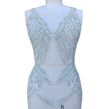 Load image into Gallery viewer, Sparkling Deep V Crystal Applique Sequined Beaded Patch Bling Accents DIY for Dance Dress