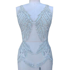 Sparkling Deep V Crystal Applique Sequined Beaded Patch Bling Accents DIY for Dance Dress