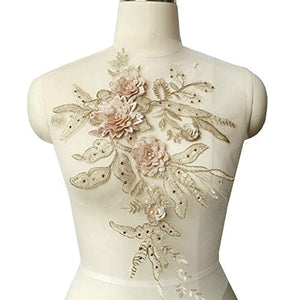 3D Lace Flower Patch Rhinestone Embroidery Lace Applique Beading Motif Exquisite Accents for Jeans Dress