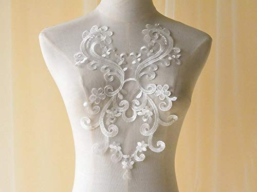 Vintage Embroidery Floral Lace Applique Patch Off-White Wedding Accessories for Bridal Veil,Dress Hem
