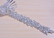 Load image into Gallery viewer, Iron on Rhinestone Belt Clear Crystal Applique for Wedding Dress Garter Sets