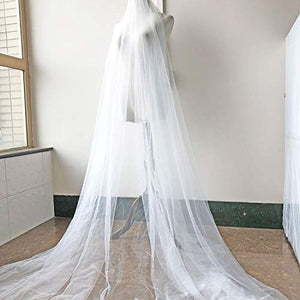 Fancy Lace Tulle Plain Overlay Wedding Lace Fabric for Bridal Veil Dress 63 inches Width Sold by 1 Meter