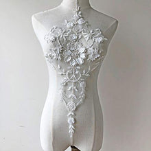 Load image into Gallery viewer, Luxury 3D Beading Flower Wedding Lace Motif Off-White Embossed lace Applique with Pearl Details Flower Patch for Bridal Dresses Evening Gown