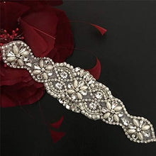 Load image into Gallery viewer, Bling Bling Rhinestone Applique  Crystal Pearl Appliques Accent for Wedding Sash Belt