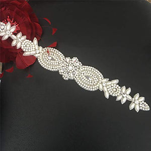 Rhinestones Applique Iron on Crystal Belt with Pearl Details Shiny Addition