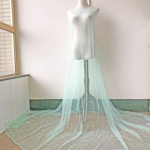 Beaded Lace Fabric Mint Color Lace Tulle Soft Lace by The Yard for Prom Dress,Evening Ballgown 63 inches Width