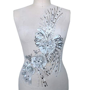 Vintage Blossom Motif Beaded Rhinestone Embroidery Flower Lace Applique for Latin Dance Costumes