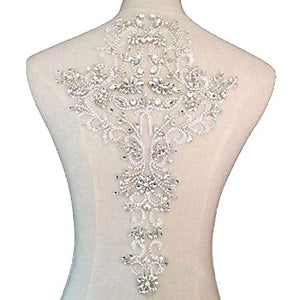 Rhinestone Beaded Patch Sparkle Dress Applique Crystal Embellished for DIY Craft Project