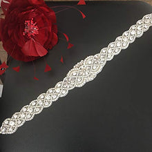 Load image into Gallery viewer, 17 inches Bridal Sash Belt Applique Rhinestone Crystal Pearl Patches Trims
