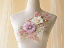 Load image into Gallery viewer, Beading Floral Lace Patch Corded Embroidery 3D Flower Applique for DIY Craft Projects