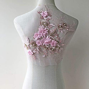 Exquisite Pink Flower Patch Embroidery Beaded Rhinestone Floral Lace Motif for Prom Dresses Dance Costumes