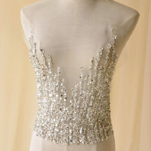 Load image into Gallery viewer, Silver Rhinestone Applique Handmade Beaded Bodice Bling Accents for Bridal Gown Wedding Dress