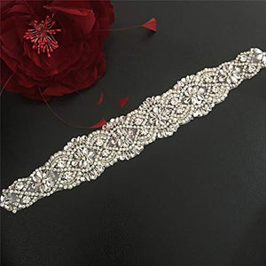 Crystal Rhinestone Applique Iorn on Bridal Sash Belt Accessories with Diamante Beads