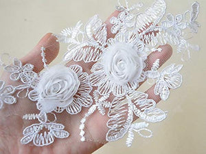 Beading Floral Lace Patch Corded Embroidery 3D Flower Applique for DIY Craft Projects
