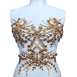 AB Stones Applique Rhinestone Applique Patch Shimmery Accents for Evening Prom Costumes