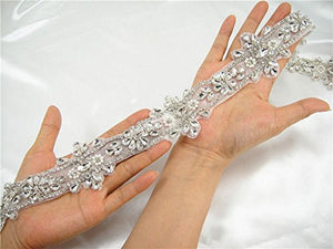 Rhinestone Applique Trims Bling Crystal Diamante Patch Appliques Wedding Sash Appliques Bridal Belt Accessories