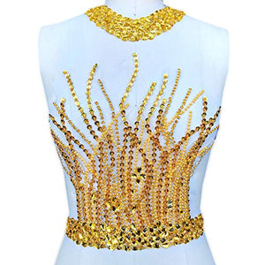 Halter Neck Beaded Sequined Applique Crystal Sewing Patch Bodice Applique Stitch for Prom Dress Party Costumes
