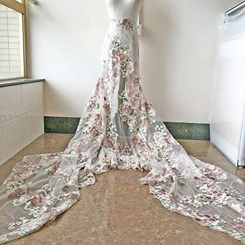 Vintage Blossom Fine Embroidery Lace Fabric by the yard for Evening Dress Prom Gown 51 inches Width