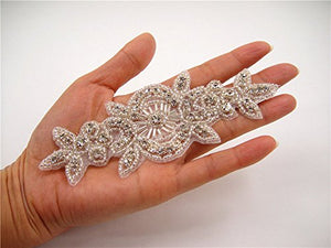 Iron on Crystal Beaded Applique Diamante Belt Patches Bridal Accessories
