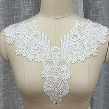 Load image into Gallery viewer, Off-White Neckline Applique Embroidered Lace Applique Motif Collar Lace Appliques Stunning Floral Patch Sewing Craft Sew on Dress Apparel