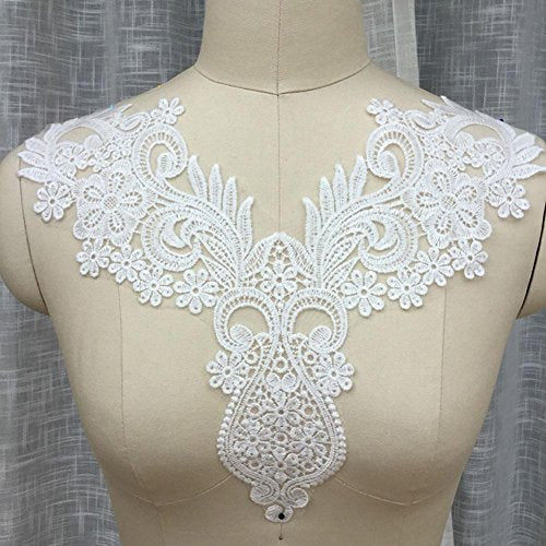 Off-White Neckline Applique Embroidered Lace Applique Motif Collar Lace Appliques Stunning Floral Patch Sewing Craft Sew on Dress Apparel