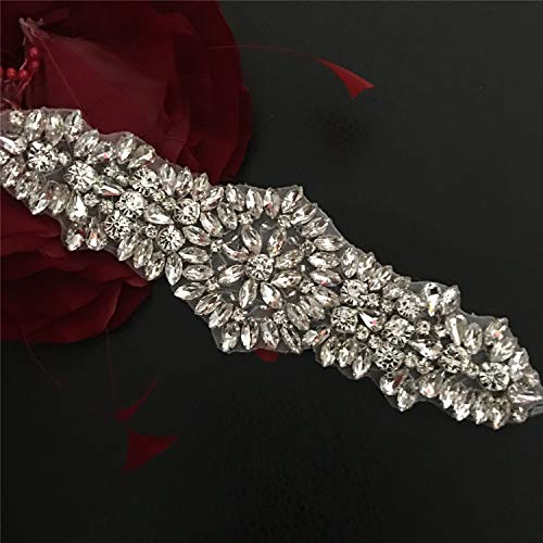 Crystal Sash Ribbon Applique Hot Fixed Rhinestone Appliques Patch Bling for Wedding Sash