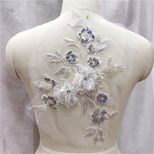 Delicate Blossom Applique Beaded Sequined Flower Lace Applique Patch for Prom Dress Costumes