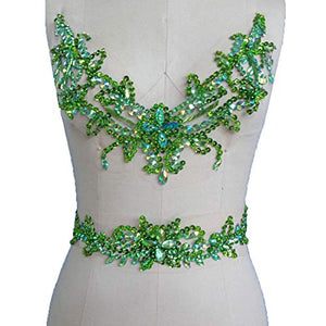Rhinestone Neckline with Belt Beaded Dress Addition Belly Dance Costumes Appliques DIY Embellishment