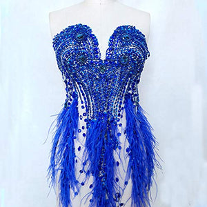 Luxury Rhinestone Bodice Applique Beaded Feather Trims Off Shoulder Beading Patch for Costumes Ballgown Evening Gown