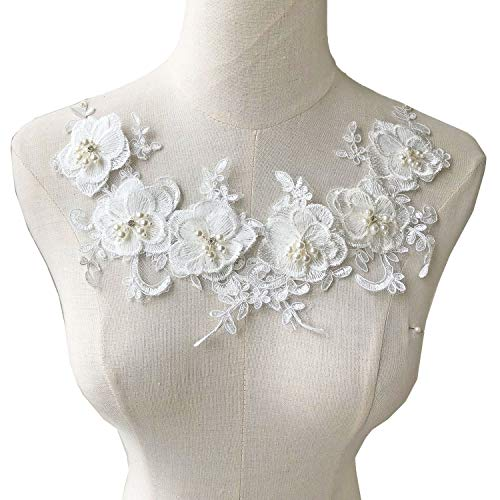 Off-White Beading Flower Patches Crystal Pearl Lace Applique Wedding Motives Embroidery Flower Patch for Dress Veil Headpiece