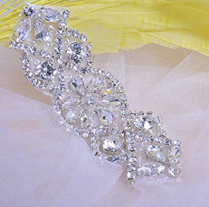 2 pcs Wedding Garter Appplique Iron on Rhinestone Patch Bling Embellishment