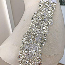 Load image into Gallery viewer, Rhinestone Applique Trims Bling Crystal Diamante Patch Appliques Wedding Sash Appliques Bridal Belt Accessories