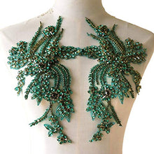 Load image into Gallery viewer, Rhinestones Applique Mirror Pair Beaded Patch Embellished for Prom Dress Costumes