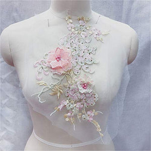 Shimmery Floral Applique Beaded Sequined Embroidery Flower Patch Mirror Pair Motif for Prom Dress