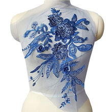 Load image into Gallery viewer, 3D Lace Flower Patch Rhinestone Embroidery Lace Applique Beading Motif Exquisite Accents for Jeans Dress