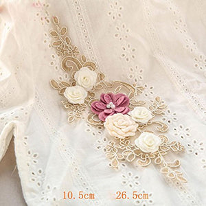 Crystal Beading Appliques 3D Flower Embroidery Applique Patch Sewing Embellishement for Dress Craft Projects