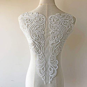 Off -White Lace Applique Corded Embroidery Sewing Floral Patches Back Lace Appliques for Wedding Dress Dance Costumes