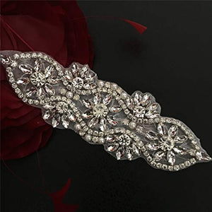 Rhinestone Sash Belt Applique Hox Fixed Bling Crystal Pearl Stone Motif