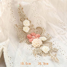 Load image into Gallery viewer, Crystal Beading Appliques 3D Flower Embroidery Applique Patch Sewing Embellishement for Dress Craft Projects