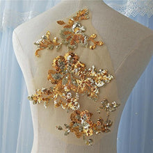 Load image into Gallery viewer, Glitter Sequined Lace Applique Flower Sewing Patch DIY Accessories for Party Dress Bodice Costumes