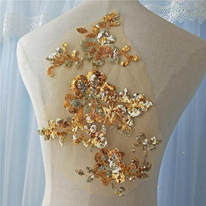 Glitter Sequined Lace Applique Flower Sewing Patch DIY Accessories for Party Dress Bodice Costumes