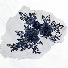 Load image into Gallery viewer, Mirror Pair Lace Applique Embroidery 3D Flower Lace Patches Motif Blossom Embellishment for Craft Projects Lyrical Dance Dress