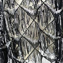 Load image into Gallery viewer, Drop Charm Sequins Lace Fabric Spangle Macrame Lace Mesh for Latin Dress Belly Dance Costumes 47 inches Width Sold by 1 Yard