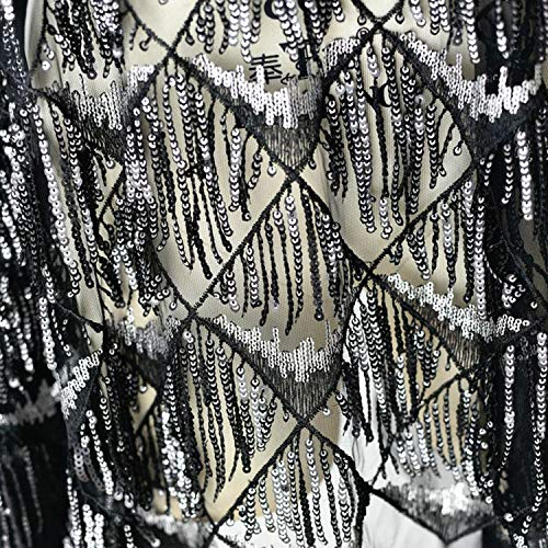 Drop Charm Sequins Lace Fabric Spangle Macrame Lace Mesh for Latin Dress Belly Dance Costumes 47 inches Width Sold by 1 Yard