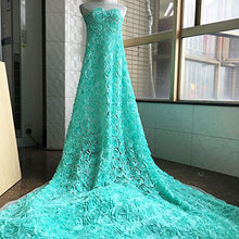 Load image into Gallery viewer, 3D Rose Lace Fabric by the yard Shabby Chic Flower Lace Mesh Overlay for Mermaid Dress Train Prom Gown 51 inches Width